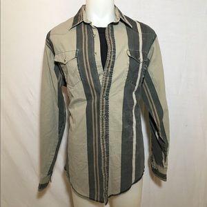 Vintage Tan and Black Wrangler Button Up